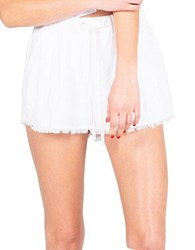 Kendall Kylie Frayed Hem Shorts White