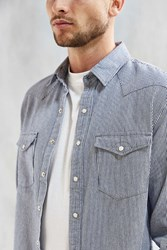 Urban Outfitters Uo Hickory Stripe Denim Western Shirt White