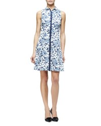 Carolina Herrera Toile De Jouy Sleeveless Floral Print Shirtdress Blue White Navy White