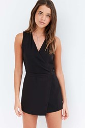 Silence And Noise Surplice Skort Romper Black