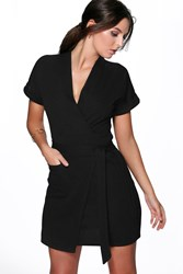 Boohoo Obi Tie Wrap Dress Black