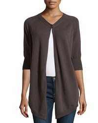 Minnie Rose Cashmere 3 4 Sleeve V Neck Cardigan French Gre