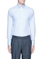 Canali Houndstooth Check Cotton Shirt Blue