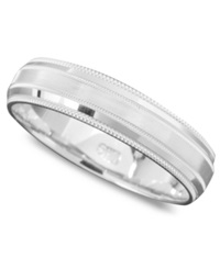 Macy's Men's 14K White Gold Ring Satin Center Band Size 6 13