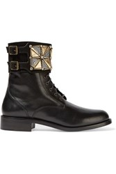 Rene Caovilla Embellished Suede Paneled Leather Ankle Boots Black