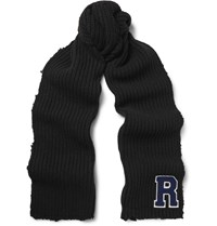 Raf Simons Appliqued Distressed Ribbed Virgin Wool Scarf Black