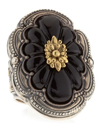 Konstantino Carved Floral Onyx Iris Ring Size 7