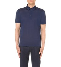 Brioni Ribbed Trims Cotton Pique Polo Shirt Blue