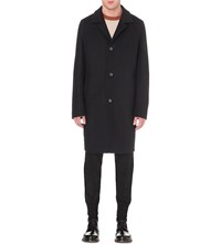 Wooyoungmi Single Breasted Wool Blend Coat Navy