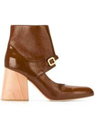 Marni Mary Jane Ankle Boots Brown