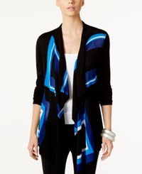 Inc International Concepts Petite Draped Colorblocked Cardigan Only At Macy's Goddess Blue