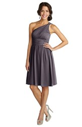 Women's Donna Morgan 'Rhea' One Shoulder Ruched Chiffon Dress Charcoal