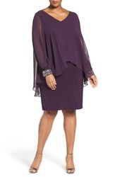 Alex Evenings Plus Size Women's Beaded V Neck Sheath Dress With Capelet Overlay Eggplant