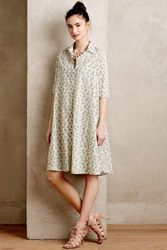 Anthropologie Kiwi Dot Shirtdress Green Motif