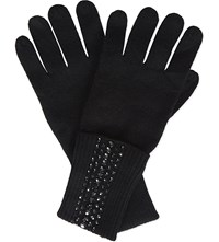 William Sharp Swarovski Long Ribbed Cashmere Gloves Black