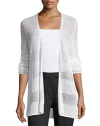 Republic Clothing Group Striped Linen Blend Open Front Cardigan Stucco Whi