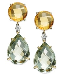 Macy's 14K Gold Earrings Citrine 6 5 8 Ct. T.W. Green Amethyst 16 Ct. T.W. And Diamond 1 10 Ct. T.W. Drop Earrings