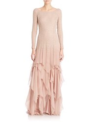 Ralph Lauren Beaded Carmella Evening Gown Vintage Rose