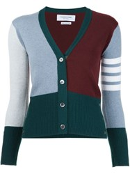 Thom Browne Striped V Neck Cardigan Green