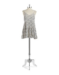 Design Lab Lord And Taylor Floral Tiered Sundress Navy Cream