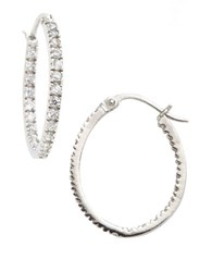 Lord And Taylor Pave Hoop Earrings Silver