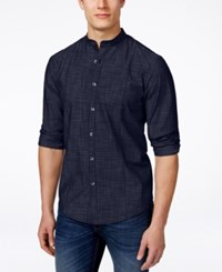 Alfani Men's Warren Banded Collar Long Sleeve Shirt Only At Macy's Rocky Slate