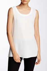 Pleione Solid Pleated Back Tank Petite White