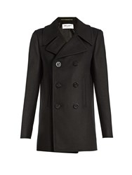 Saint Laurent Double Breasted Wool Pea Coat Black