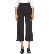 Claudie Pierlot Poppins Wide High Rise Stretch Crepe Trousers Noir