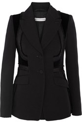 Altuzarra Rome Velvet Paneled Embroidered Wool Blazer Black