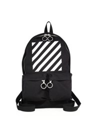 Off White Printed Medium Calf Leather Detailed Backpack Black