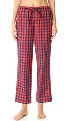 Sleepy Jones Washed Plaid Marina Pajama Pants Red Navy