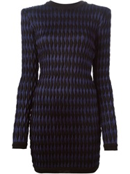 Balmain Embossed Chevron Pattern Dress Black