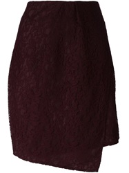 Carven Lace Wrap Skirt Red