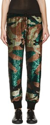 Ashish Green And Black Sequined Camo Lounge Pants