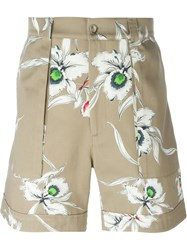 Valentino Floral Print Shorts Nude And Neutrals
