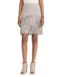 Ralph Lauren Suede Tiered Fringe Skirt Blue