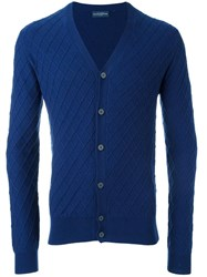 Ballantyne Jacquard V Neck Cardigan Blue