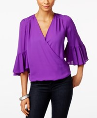 Inc International Concepts Bell Sleeve Surplice Top Only At Macy's Vivid Purple
