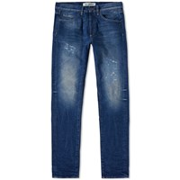 Off White Brushed Diagonals Slim Fit Jean Blue