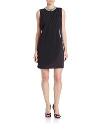 Hailey Logan Embellished Chiffon Overlay Dress Black
