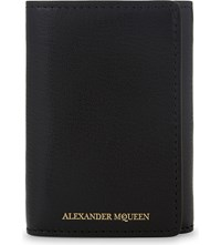 Alexander Mcqueen Tri Fold Grained Leather Wallet Black Gold