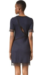 3.1 Phillip Lim Rib Dress With Lace And Curved Back Opening Phantom Blue