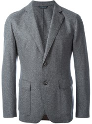Hugo Boss Melange Fitted Blazer Grey