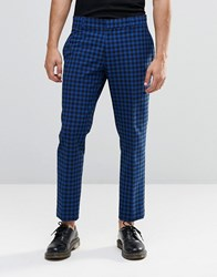 Religion Skinny Cropped Trousers In Check Blue