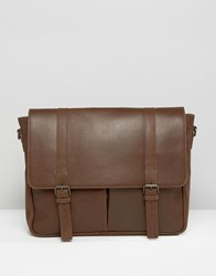 Asos Leather Satchel With 2 Straps Brown