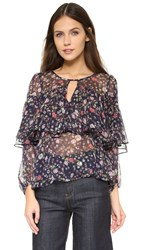Rebecca Taylor Long Sleeve Tapestry Chiffon Blouse Blackberry