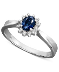 Macy's 14K White Gold Ring Sapphire 3 8 Ct. T.W. And Diamond 1 8 Ct. T.W. Oval Ring Blue