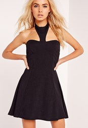 Missguided Crepe Halter Neck Skater Dress Black Black