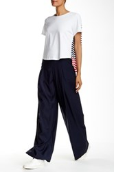 Pink Tartan Wide Leg Wool Blend Pant Blue